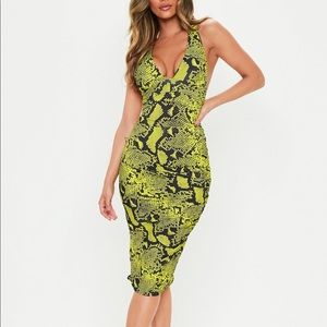 Missguided Green Snake Dress